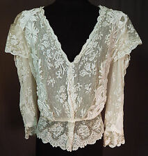 Vintage Edwardian Antique White Tambour Embroidery Applique Lace Peplum Blouse