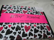 New Betsey Johnson XOX HEARTS Full Sheet Set ~ Red, Black and White NIP
