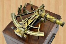 "Marine Antique Brass Astrolabe 8"" Nautical Collectible Working Sextant With Box"