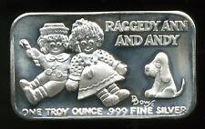 International Silver Ingot Co. Raggedy Ann & Andy 1 oz .999 Fine Silver Art Bar