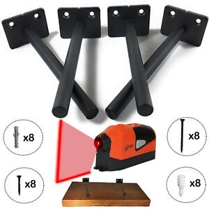 "4x FLOATING SHELF BRACKETS 6"" INCLUDES LASER LEVEL AND HARDWARE-SHIPS FREE"