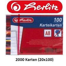 2000 Karteikarten DIN A8 weiß, beidseitig liniert, Karteikarte für Karteikästen
