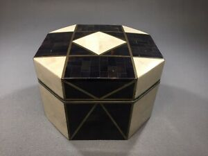 Robert Marcius for Casa Bique Hand Crafted Tessellated Stone Ware & Brass Box