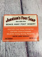 Vtg Johnson's Foot Soap Box w/ 4 (1oz) Packs / Advertising Collectible