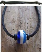 Surferkette Herren Kette Leder schwarz Surferschmuck Perle blau Damen Halskette