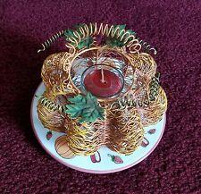 Home Interior Wire Pumpkin Candle Holder w/ Pumpkin Plate Holder & Votive-Guc!