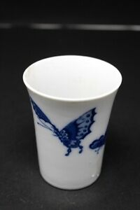 Antique Old Original Ceramic Butterfly Print Glass Collectible  Rare