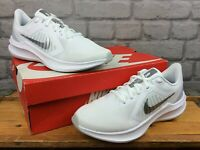 NIKE LADIES DOWNSHIFTER 10 WHITE SILVER RUNNING TRAINERS VARIOUS SIZES T