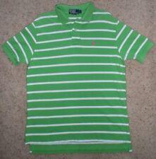 POLO RALPH LAUREN Men's Polo Shirt Short/sl Lime Green/white Striped cotton sz L