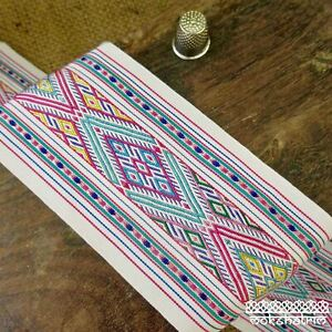 Ethnic Chinese Embroidered Geometric Ribbon Tape Tribal Multicolour M1917