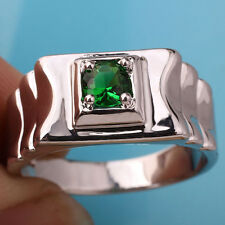 Ripple-shape Band Men Sterling Silver Ring Size 12 Emerald Green Stone 925 Stamp