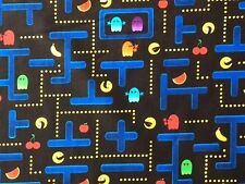 RPFTT55Q Pacman PAC-man Arcade Video Game Vintage Quilt Cotton Quilting Fabric