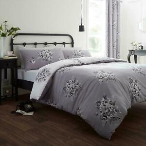 Catherine Lansfield Floral Bouquet Grey Duvet Covers Quilt Cover Bedding Sets