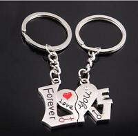 6Pairs Lovers Ring Keyring Keychain Gift Charm Pendant Bag Purse Car Key Chain