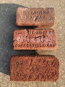 3 VINTAGE..KANSAS BRICKS..1 LAWERENCE 1 YOKE BRICK CO. 1 DON'T SPIT ON SIDEWALK