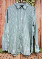 APT 9 Men's Modern Fit Green Striped Long Sleeve Button Front Shirt Size XL