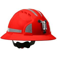 JSP MINING HARD HARD FULL BRIM WITH 6 POINT RATCHET SUSPENSION, RED