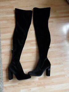 STEVE MADDEN over the knee boots sock size 3 black velour brand new