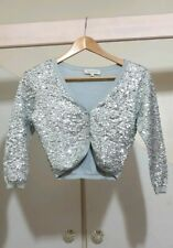 TOPSHOP Vintage Slive Blue Sequin Cropped Cardigan Top Bolero Jacket Celeb Hot 8