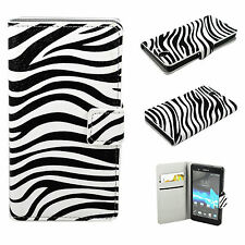 Zebra Skin Wallet Leather Flip Phone Cover Case For Sony Ericsson Xperia Z L36H