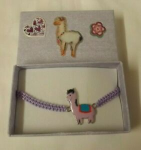 Alpaca theme cord bracelet - lilac cord with lilac/ purple decorated gift box