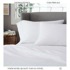 12 White T-180 Inn Hotel Motel Resort Percale King Fitted Sheet 78X80X9 New