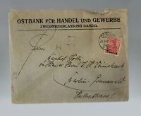 1920 Danzig Ostbank Cover to Germany Bank
