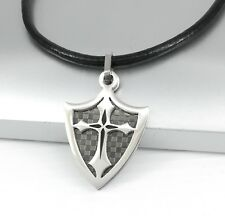 Mens Stainless Steel Silver Black Dog Tag Cross Pendant Black Leather Necklace