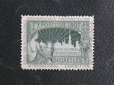 TIMBRES DE BELGIQUE : VIGNETTE VERTE EXPOSITION 1897 BRUXELLES * AVEC CHARNIERE