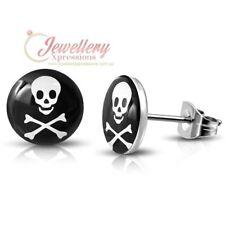 10mm | Stainless Steel Skull Head Crossbones Stud Earrings