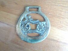 "Collectible vintage HORSE BRASS w/bicycle inset, 3"" round, needs polishing!"