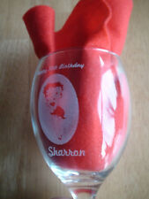Personalised betty boop engraved wine glass. Custom text. Gift for collectors
