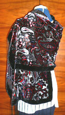 Velvet devore/burn out velvet shawl Black/red/blue/grey paisley on black NEW