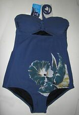 BNWT ANNA SUI Cut Out HALTERNECK Navy FLORAL Swimsuit S - £150