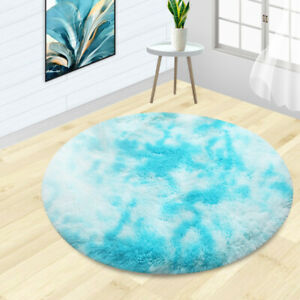 Shaggy Tie-dye Round Carpet Colorful Fluffy Circles Table Blanket Bedroom RugSJC