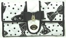 Iron Fist Cream/Black Bowed Over Large Wallet/Purse (Goth/Skull)