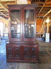 Tall Victorian Walnut Bookcase With Ribbon Moldings - Civil War Era