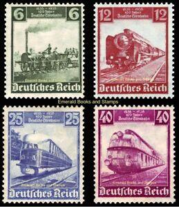EBS Germany 1935 German Railways Centenary set Michel 580-583 MH*