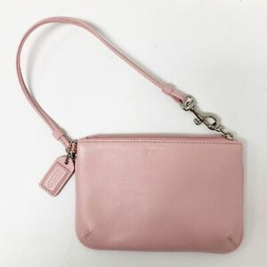 Coach Pink Pebbled Genuine Leather Wristlet Clutch