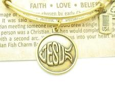 """Wind and Fire """"Christian Fish Jesus"""" Charm Wire Bangle Stackable Bracelet USA"""