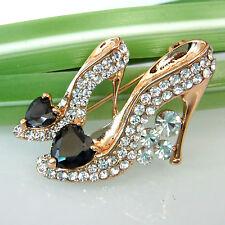 Heart-shaped Black Zircon Shoes 18K GP Crystal Pin Brooch 7773