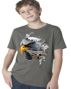 Boys Graphic Tees Bald Eagle Tearing Through Kids Youth Tee Shirts Gifts