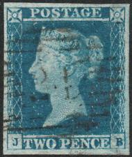 1841 SG14 2d BLUE PLATE 4 VERY FINE 4 MARGINS SCARCE LONDON INLAND 21 (JB)
