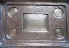 Vintage Engraved Brass serving tray 4 round&1rectangular space Prob.Wine tray