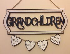 Personalised Grandchildren Wooden Plaque Shabby Chic Gift Nan Mum Nanny Grandad