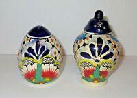 Traditional Mexican La Flor Talavera Pottery Salt and Pepper Shaker Set