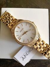 DKNY watch NY4999 Gold Bracelet Round with Crystals Women's
