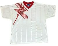 Vintage Umbro Men's Size XL Soccer Jersey White & Red #16 Made in USA Futbol