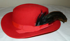 Mr. Field Bright Red Wool Women Hat With Feather & Hat Band Size M Made in USA