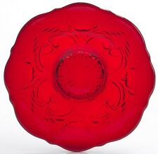 Dessert Plate - Inverted Thistle Pattern - Mosser USA - Red Glass